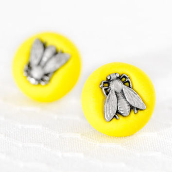 Neon Jewelry Yellow Fly Earrings Surgical Stainless by CreaShines