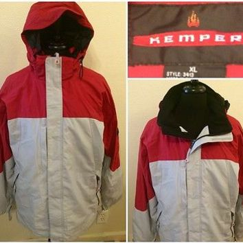 Mens Kemper Snowboard Ski Hooded Jacket Coat Red Black Insulated Size XL
