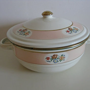 French enamel cooking pot, large size cooking pan with gilding and floral decoration