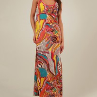 Aller Simplement 100 % Cotton Multicolor Geometric Print Long Dress - Aller Simplement Summer Apparel for Her - Modnique.com