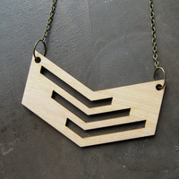 Lasercut Bass Wood Necklace with Chevron Design