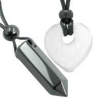 Yin Yang Crystal Point Heart Donut Love Couple Black Agate White Simulated Cats Eye Amulets Necklaces