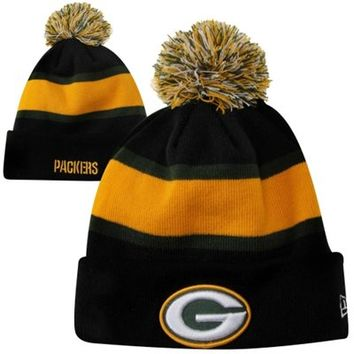 New Era Green Bay Packers Fashion Sport Knit Hat - Black/Green