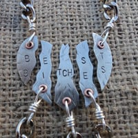 Mature Content - Keychain - Best Bitches Keychains Silver Heart - 5 Piece Set
