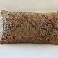 """Colorful Oriental Carpet Style Throw Pillow Red Green Blue Gold Ready Ship Chenille Tapestry Magic Carpet Fringe ( F ) Oblong  12x20""""  OOAK"""