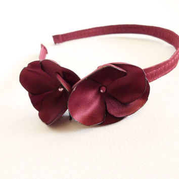 Burgundy satin flower headband with Swarovski