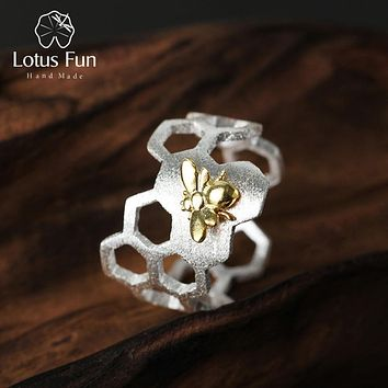 Lotus Fun Real 925 Sterling Silver Natural Handmade Fine Jewelry Creative Honeycomb Open Ring Home Guard Rings for Women Bijoux