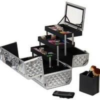 SHANY Premier Fantasy Collection Makeup Artists Cosmetics Train Case - Silver Diamond