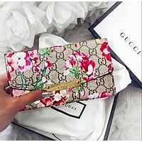 Gucci Classic Popular Women Leather Flower Print Purse Wallet I/A