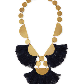 Fringe-Disc Statement Necklace, Blue - Tory Burch