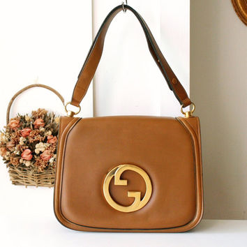 Gucci Bag 70s Big Logo Leather Camel Brown Shoulder Handbag