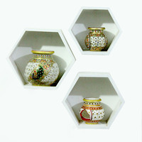 Aakashi White Hexagonal 3 Piece Wall Shelf