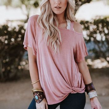 Cold Shoulder Billie Tee - Pink