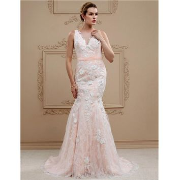 Mermaid / Trumpet Plunging Neckline Sweep / Brush Train Wedding Dress Lace Tulle  with Buttons Sashes/ Ribbons