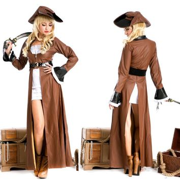 adult Caribbean pirate cosplay costumes for girls medieval dress masquerade costume for women Leather jacket with hat and Knife