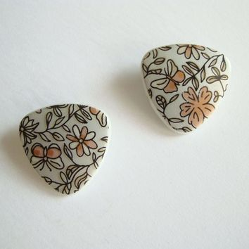 Floral Transferware Clip On Earrings Faux Damascene Vintage Jewelry