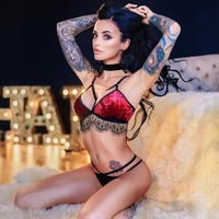 Cute Hot Deal On Sale Lace Suede Set Sexy Exotic Lingerie [2074193887329]