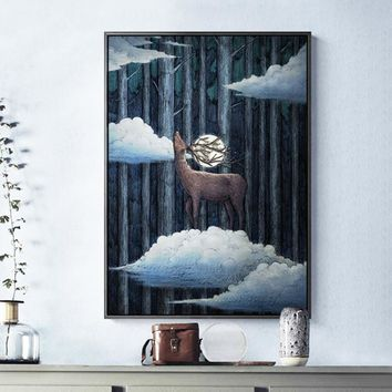 Nordic Style Deer Bear Fox Canvas Painting illustration Posters Prints Wall Art Pictures For Living Room Kids Baby Home Decor
