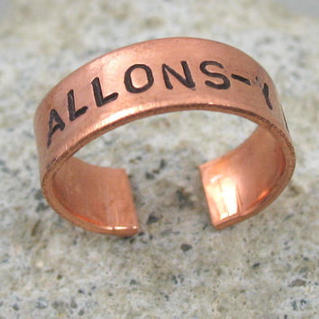 Doctor Who Ring  Allonsy   Hand Stamped Adjustable by oneeyedfox