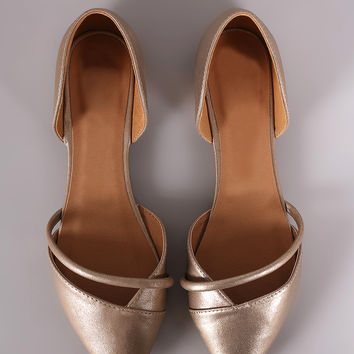 Qupid Metallic Pointy Toe Dorsay Flat