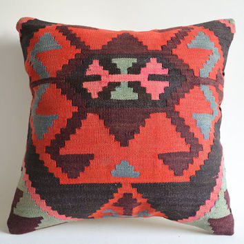 Sukan / Organic Modern Bohemian Throw Pillow. Handwoven Wool Vintage Tribal Turkish Kilim Pillow Cover. 16x16 inch