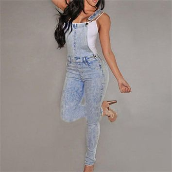 Women High Waisted Denim Jeans Overalls Girls Casual Skinny Stretchy Washed Jeans Pants nz17
