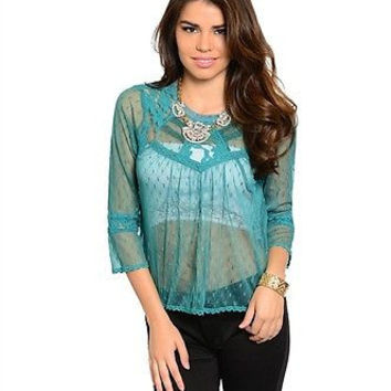 Women Fashion Lace Jade Green Blouse Top Shirt Boho Casual Cute Sheer