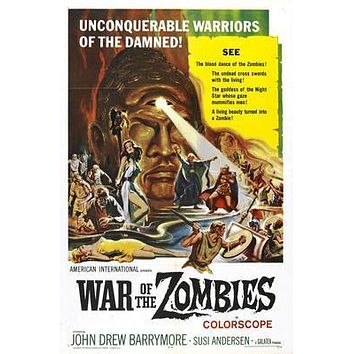 War Of The Zombies Movie poster Metal Sign Wall Art 8in x 12in