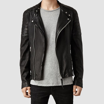 Mens Jasper Leather Biker Jacket (Black) | ALLSAINTS.com