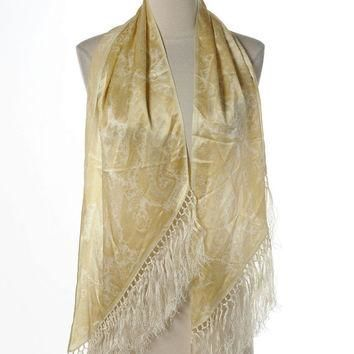 Ralph Lauren Silk Scarf Large Wrap Light Yellow Gold Paisley Print Fringed Trianguar E