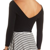 Three-Quarter Sleeve Cotton Crop Top by Charlotte Russe