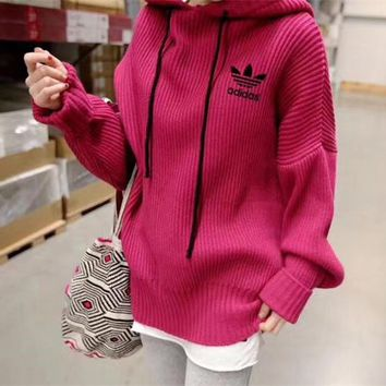 """Adidas"" Women Simple Solid Color Loose Long Sleeve Hooded Pullover Sweater Tops"