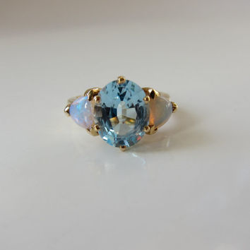 Blue Topaz and Opal Ring in 14kt Gold