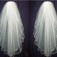 Bridal Veil 2 tier Satin edge Pearl Wedding veil Elbow Veil White / Ivory + comb = 1697603332
