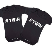 Hashtag Twins Matching Twins Baby Onesuits