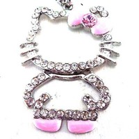 Hello Kitty Full Body Crystal Pendant Necklace Pink Bow