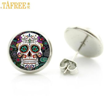 Colorful Sugar Skull glass women stud earrings
