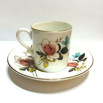 Bone China Demitasse Set, Royal Grafton, Roses, Pink, Gold Rims, Cup and Saucer, 1950s