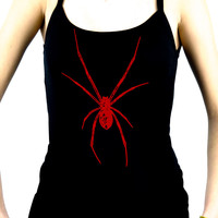 Red Print Black Widow Spider Women's Spaghetti Strap Shirt Cami