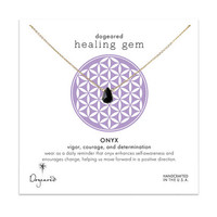 healing gem onyx necklace, gold dipped, 16 inch