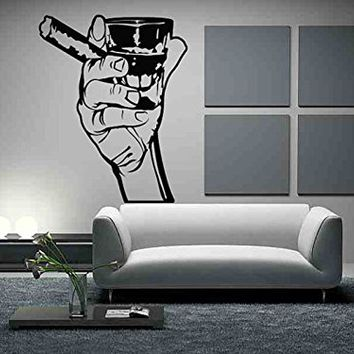 Wall Vinyl Sticker Decals Mural Room Design Decor Art Arm Hand Cigar Whiskey Alcohol Man Cave Finger mi231