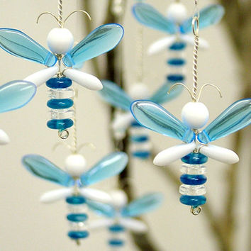 Blue Wedding Decor Hanging Glass Suncatcher Wishing Tree Fairy Charm Angel Garland Window Butterfly Easter Ornament Baby Boy Shower Gift Bee