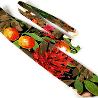 Vintage Tie,Vicky Davis Designer Tie,Bright Red and Green Floral Tie,Cotton Tie,Bold Graphic Print Tie,Tropical Flowers Tie,Unisex Boho Tie