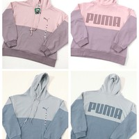 """Puma"" Casual Fashion Letter Pattern Stitching Color Long Sleeve Hooded Sweater Women Hoodie Tops"