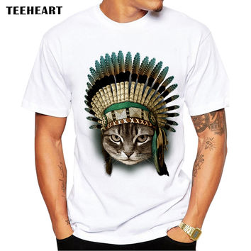 Men's Indian Cat Chiefs Print T-Shirt Men Summer Modal Hipster Tees