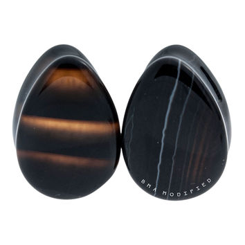 "9/16"" (14mm) Black Line Agate Teardrops #7537"