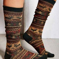 Reindeer Double-Knit Knee-High Sock- Green Multi One