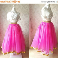 Fuchsia Golden Tulle skirt. long Tulle Skirt. Ballet Skirt 2016. Ball Costumes. Pink Tulle Skirt. Bridesmaid Skirt. Plus size xxxl(T2835)