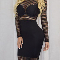 Black Fishnet Design Long Sleeve Club Dress