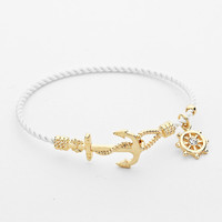 White Anchor Rope Bangle Bracelet